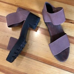 Shoes - Stretchy pull on rubber sole sandals rosewood